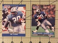 1990-91 Pro Set Barry Sanders Detroit Lions lot of 2 pre owned football cards.
