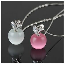 Women's Silver Plated Purple And White Apple Necklace Jewellery Set Gift UK