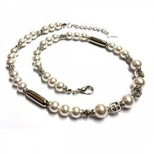 Olaf Strauss Design Ladies Necklace Cultured Pearls Necklace White Hand Made