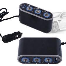 3 Way Car Cigarette Lighter Triple Socket Splitter 12V Power Charger Adapter