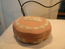 More details for rare wedgwood white on pink jasperware trinket box approx 5