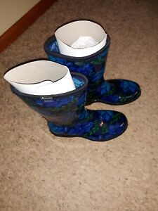Sloggers Womens Waterproof Rain and Garden Boot Size 7 Blooming Leaves Blue