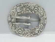 LARGEST ANTIQUE STIEFF STERLING SILVER ROSE PATTERN SILVER BUCKLE PIN
