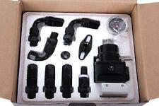 Universal Fuel Pressure Regulator Gauge AN6 Fuel Line Hose Fittings Black