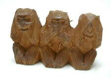 Three Wise Monkeys See Hear Speak No Evil Vintage Wooden Figurines #2
