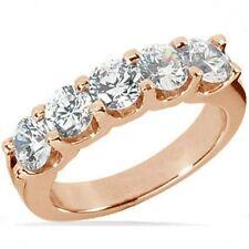 1.50 carat Round Diamond Wedding Ring Anniversary Band 5 x 0.30 ct 14K Rose Gold