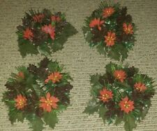 Vintage 1960s Plastic Holly Candle Holder Wreath Christmas Decor Set of 4