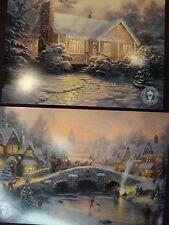 Thomas Kinkade Postcard-Spirit of Christmas &Christmas Cottage