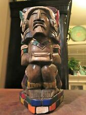Vintage Hand Carved Wooden Seated Man Tribal Primitive Painted