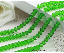 100 (±3) PCS , 4 X 6 mm Grass Green Crystal Faceted Gemstone Abacus Loose Bead