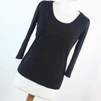 New Look Womens Size 14 Black Plain Cotton Basic Tee