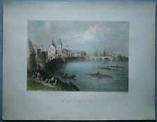 1842 Bartlett print WALLS AND BRIDGE OF ULM, BADEN-WÜRTTEMBERG, GERMANY (#8)