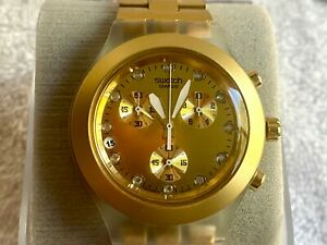 Swatch Chronograph Gold plated 3 Registers calendar at 9 Swiss Watch Box Papers