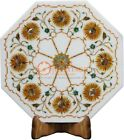 """12"""" Marble White Handmade Wall Tile Carnelian Marquetry Floral Art Veterans Gift"""
