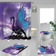 Flying Dragon Purple Shower Curtain Bath Mat Toilet Cover Rug Bathroom Decor