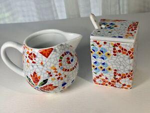 Colorful ANTONIO GAUDI Mosaic Pattern Art Barcelona Ming Breakfast Set
