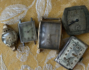 lot 5 vintage watch faces Elgin Hamilton Kelton Gladstone