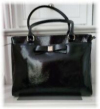 NEW! KATE SPADE Textured Black Patent Leather Handbag Pink Interior Bottom Studs