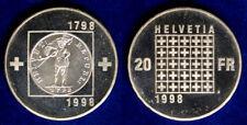 Svizzera Switzerland 20 Francs 1998 Q.Fdc A.Unc #6612A