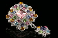colors crystal Rhinestone Bouquet Womens Wedding rhombus dangle Brooch pin D11