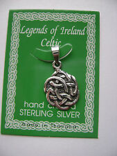Sterling Silver Celtic Irish Small Circle Solid Knot Pendant New