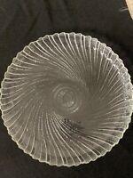 "Arcoroc Seabreeze Clear 7 1/2"" Salad Dessert Plates Bowls Swirl Pattern Set of 8"