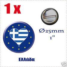 Badge Ø25mm Pays de l'europe des 28, drapeau en forme de coeur EL GRÈCE