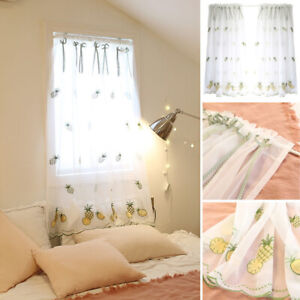 Kitchen Window Lace White Mesh Valance Sheer Curtains For Living Room Bedroom