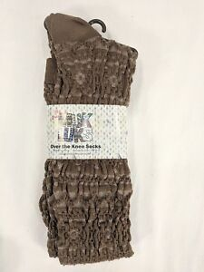 MUK LUKS womens light brown with accents Knee socks NWT