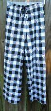 Hello Kitty Black White Gingham Check Flannel Pajama PJ Lounge Pants Medium