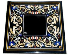 15 Inches Marble Side Table Top Inlay Corner Table with Multicolor Gemstones