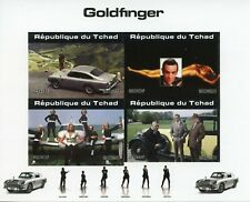 More details for chad james bond stamps 2020 mnh goldfinger sean connery cars movies 4v impf m/s