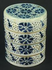 ! Antique Edo/Meiji Japan Blue & White Porcelain JUBAKO BENTO Food Container