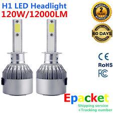 2PCS H1 120W 12000LM CREE Car COB LED Headlight Kit High Beam Bulbs 6000K