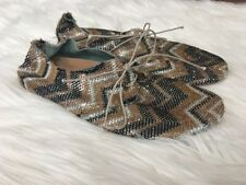 Anniel Glitter Shoes Size 36 Size US 6 Black Gold Silver Flats Lace Tie Women