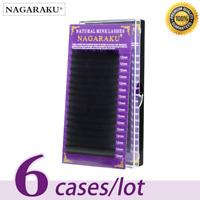 Nagaraku® 6 Cases Set 16rows/tray High-quality Mink Eyelash Extension Individual