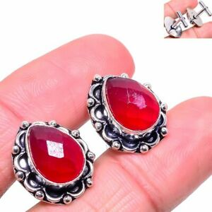 Kashmir Red Ruby Gemstone Handmade 925 Sterling Silver Cufflinks Stnd. h671