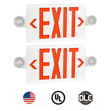 2pcs Red Led Exit Signul Listed Emergency Light Dual Lamp Abs Fire Resistance