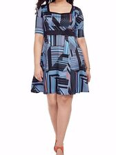 Jete Geometric Abstract Stretch Jersey Fit And Flare Dress Size 2X
