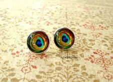 Peacock Eye feather Golden Blue Green Multi color Stud Earrings, Fancy Earrings