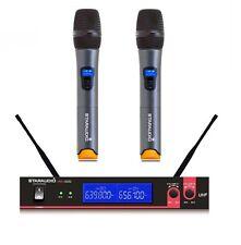 Staraudio Dual Channel Wireless Uhf Microphone System 2Ch Handheld Church Dj Mic