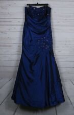 Sally USA Metallic Blue Beaded Strapless  Evening Prom Long Dress Sz Large 2 pc