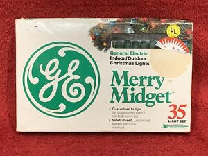 Nuevo Vintage GE Merry Enano 35 Juego de Luces Árbol Navidad Claro Cable Verde