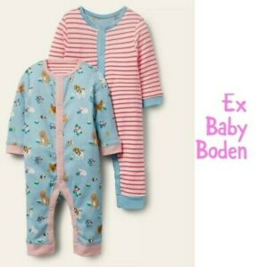 Ex Baby Boden Girls 1 ONE Pack Pets Stripe Footless Romper Sleepsuit Age 0 - 24