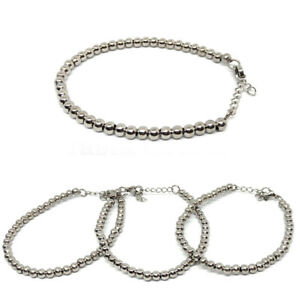 Bracciale con sfere in acciaio argentato unisex regolabile con moschettone