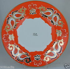 VINTAGE 80S TRADITIONAL UZBEK SERVING TRAY ORANGE/GOLD USSR ANNIVERSARY LOGO
