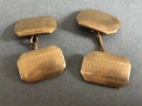 9ct Gold Plated Cufflinks - Front & Back - Vintage Gents Set - Art Deco Style