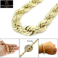 """New Mens 10K Yellow Gold Diamond Cut 6mm Rope Chain Bracelet 9"""" Inches"""