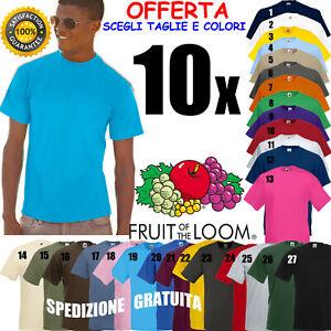Set 10 PEZZI T-Shirt FRUIT OF THE LOOM Cotone COLORATE Maglia MANICHE CORTE Uomo