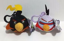 "Angry Bird Space Plush Clip Set Black and Purple Birds 3"" Clip On Key chains NEW"